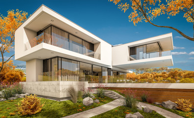 3d rendering of modern house by the river