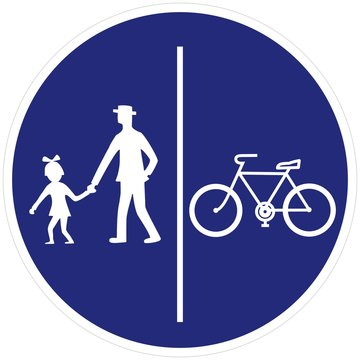 Road sign, pedestrian and bicyclist road sign pedestrian and bicyclist, vector icon. Circular blue traffic sign. Single object, white silhouette of people, man and baby, and bicycle.