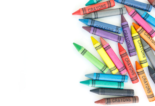 crayon drawing border multicolored background