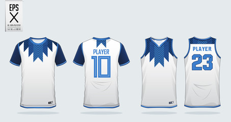 Blue and White t-shirt sport design template for soccer jersey, football kit and tank top for basketball jersey. Sport uniform in front and back view. Sport shirt mock up for sport club. Vector.