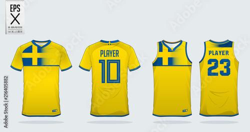 b9b0808ec Blue and yellow t-shirt sport design template for soccer jersey ...