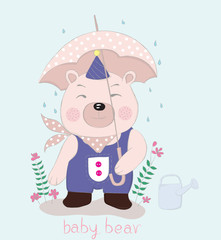 Hand drawn style, Cute little bear cartoon hold umbrella in hand on a rainy day
