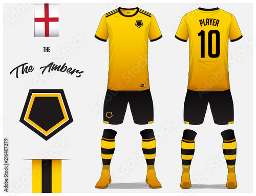 Soccer Jersey Or Football Kit Template For Club Yellow Shirt With Sock And