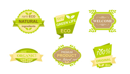 Vector illustration set of stickers and badges for natural organic food, farm fresh products, vegan restaurant, food store, healthy products promotion. Natural products badges concept in flat style.