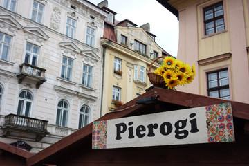 Pierogi sign in Krakow market