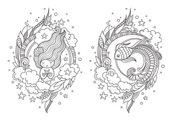 Cute princess mermaid and fantasy fish. Page for coloring book, greeting card, print, t-shirt, poster. Hand-drawn vector illustration.