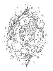 Portrait of mermaid with starfish. Cute little girl. Page for coloring book, greeting card, print, t-shirt, poster. Hand-drawn vector illustration.