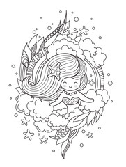 Round decorative composition with cute girl. Page for coloring book, greeting card, print, t-shirt, poster. Hand-drawn vector illustration.