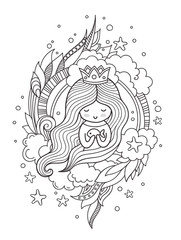Portrait of a cute princess. Mermaid with fish. Page for coloring book, greeting card, print, t-shirt, poster. Hand-drawn vector illustration.