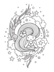 Portrait of dreamy pensive girl with long hair. Page for coloring book, greeting card, print, t-shirt, poster. Hand-drawn vector illustration.