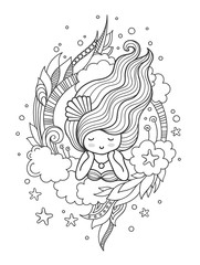 Stylized round composition with cute dreamy girl. Page for coloring book, greeting card, print, t-shirt, poster. Hand-drawn vector illustration.