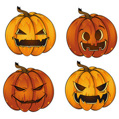 Funny Happy Halloween Jack-o-Lantern pumpkin lantern Collection Stickers