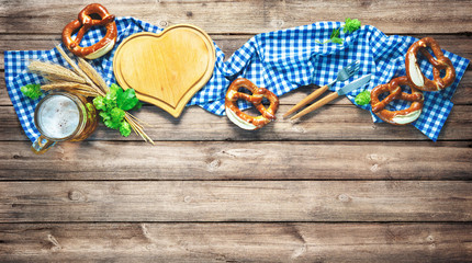 Rustic background for Oktoberfest or Bavarian specialties