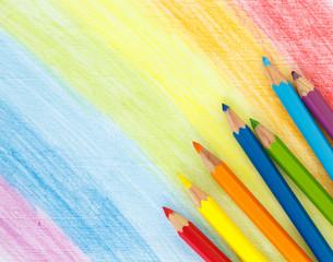 Fototapete - rainbow stroke pencil drawing sketch abstract art.