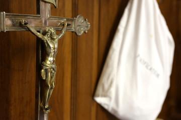 Jésus-Christ sur la croix. Sacristie.  Jesus Christ on the cross Sacristy.