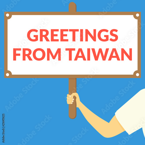 Greetings from taiwan hand holding wooden sign stock image and greetings from taiwan hand holding wooden sign m4hsunfo