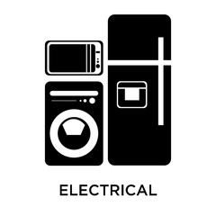 Electrical appliances icon vector sign and symbol isolated on white background, Electrical appliances logo concept