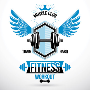 Vector winged graphic symbol created with disc weight dumb-bell and royal crown. Weight-lifting exercise room vector symbol