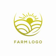 Nature Farm,Sunset or Sunrise Logo Vector Design Concept