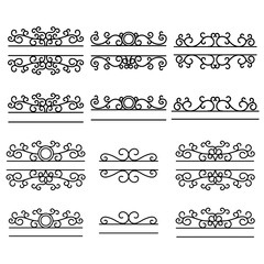 Hand drawn dividers. Split frames. Text divider. Mailbox monogram