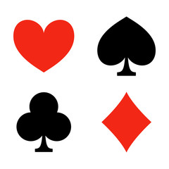 Playing card suits. Game. Casino icons. Heart, diamond, club and spade. Vector illustration