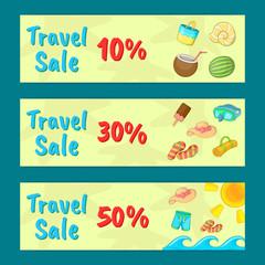 Travel sale concept banner set. Cartoon set of travel sale vector concept banner for web, giftcard and postcard