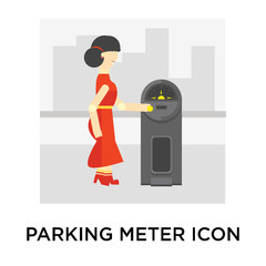 Parking meter icon vector sign and symbol isolated on white background, Parking meter logo concept