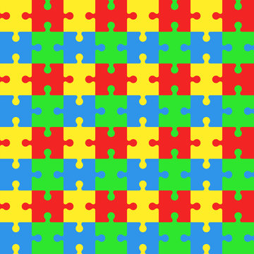 Seamless pattern with puzzles. Jigsaw background. Vector backdrop