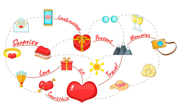 Love Map concept background. Cartoon concept of love map vector background for web, poster and banner