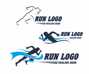 Collection Silhouette Illustration Vector Design, Run Sport Logo Template