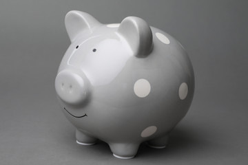 Cute piggy bank on gray background