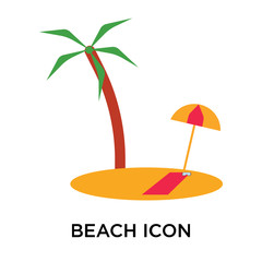beach icon isolated on white background. Simple and editable beach icons. Modern icon vector illustration.