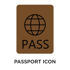 passport icons isolated on white background. Modern and editable passport icon. Simple icon vector illustration.