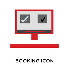 booking icons isolated on white background. Modern and editable booking icon. Simple icon vector illustration.