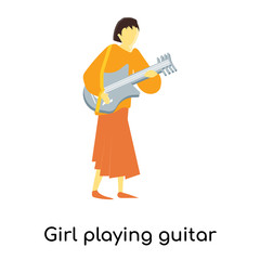 Girl playing guitar vector vector sign and symbol isolated on white background, Girl playing guitar vector logo concept