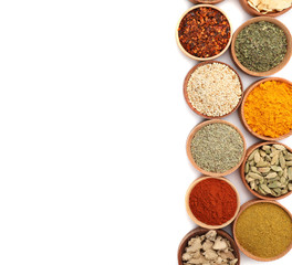 Fotorolgordijn Kruiden Beautiful composition with different aromatic spices on white background