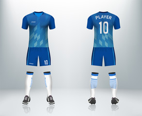 Blue soccer jersey uniform set  design in vector illustration