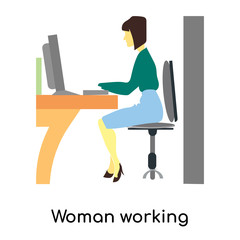 Woman working computer vector vector sign and symbol isolated on white background, Woman working computer vector logo concept