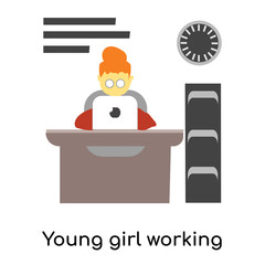 Young girl working on laptop vector vector sign and symbol isolated on white background, Young girl working on laptop vector logo concept