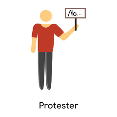 protester icon isolated on white background. Simple and editable protester icons. Modern icon vector illustration.