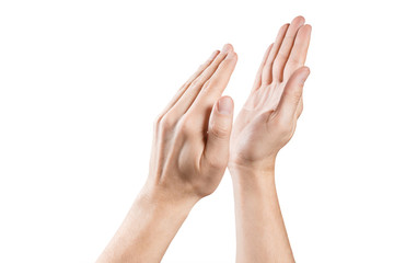 Clapping hands on white background