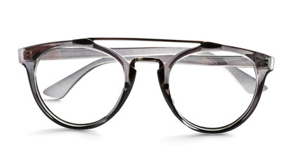 Glasses with corrective lenses on white background. Vision problem