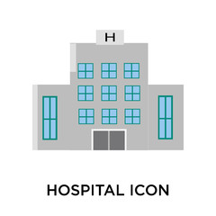 Hospital icon vector sign and symbol isolated on white background, Hospital logo concept