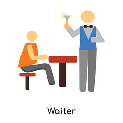 waiter icon isolated on white background. Simple and editable waiter icons. Modern icon vector illustration.