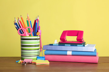 Different colorful stationery on table. Back to school