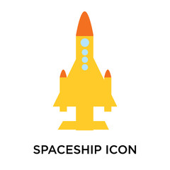 spaceship icon isolated on white background. Simple and editable spaceship icons. Modern icon vector illustration.