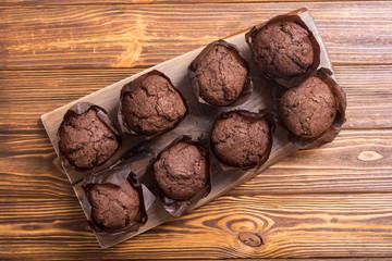 Sweet dessert chocolate muffins or cupcake