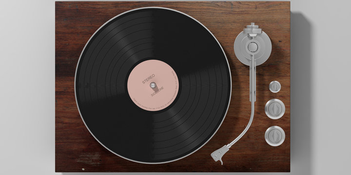 Vinyl LP record player isolated on grey background, top view. 3d illustration
