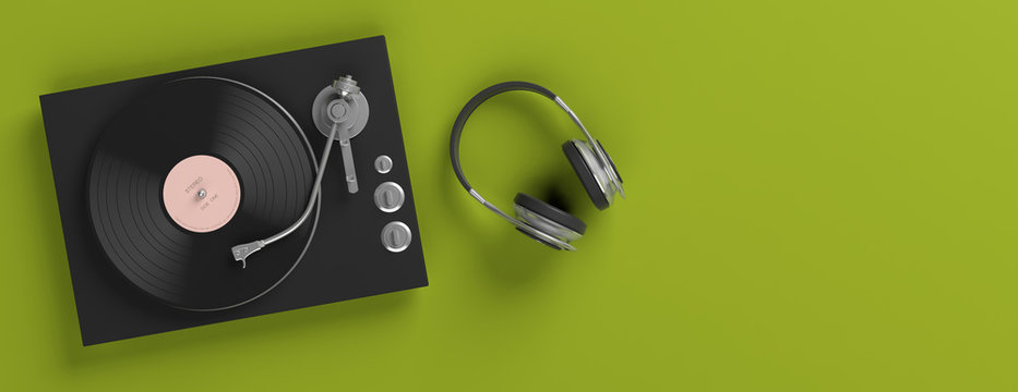 Headphones and vinyl LP record player on bright green background, banner, copy space. 3d illustration