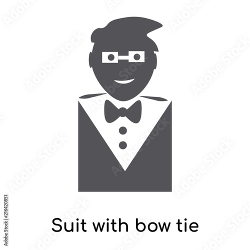 Suit With Bow Tie Icon Vector Sign And Symbol Isolated On White